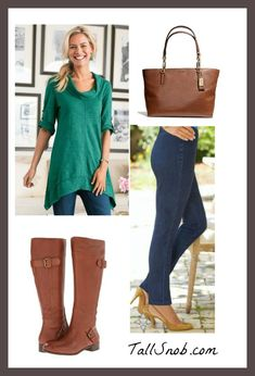 Outfits with Tunics and Leggings for Tall Women - Tall Snob. Love the cognac boots.
