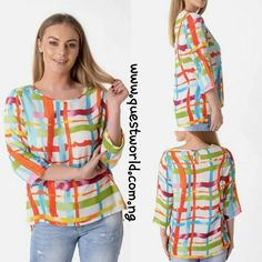 Paintbrush Stripe Print Light-Weight Top size 10 12 14 16 #6500 www.questworld.com.ng Pay on delivery in Lagos Nationwide Delivery
