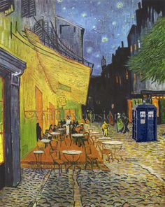 Dr Who Tardis Print Van Gogh Terrace Cafe at by ArtfulExcursions