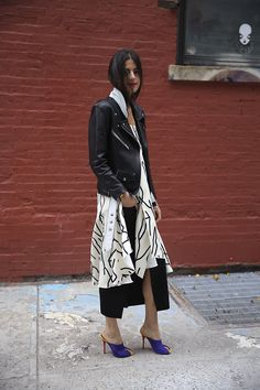 Young Blood | Man Repeller in the VEDA Jayne leather motorcycle jacket