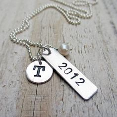 Personalized Graduation Necklace Fine and by BeadinByTheSea