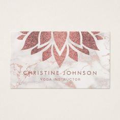 faux rose gold foil lotus flower on marble business card - diy cyo customize create your own personalize