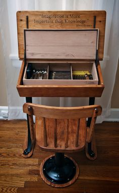 old school desk from the converted into a humidor and cigar station. sitting is the new smoking desks Whisky, Cigars And Whiskey, Good Cigars, Pipes And Cigars, Old School Desks, Old Desks, Cigar Shops, Student Desks, Cigar Humidor