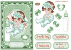 Beautiful Baby 3 Decoupage Card Front on Craftsuprint designed by Sandra Carlse - This is such a sweet card front that will be a pleasure to receive for a new baby girl arrival. There are all the elements on this sheet for you to be able to make up this card front. I have also included 4 sentiment banners