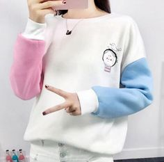 Splice color block sweatshirt for girls fleece sweatshirts pullover