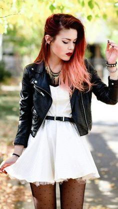 Black leather jacket, white dress, necklace and bracelets, belt and polka dot tights. :D Perfect spring/summer outfit.