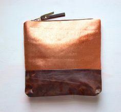 M E T A L L I C Copper Make Up Bag Clutch by GiftShopBrooklyn, $88.00 LOVE LOVE LOVE
