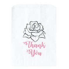 Floral Black & White Rose Flower Pink Thank You Favor Bag - bridal party gifts wedding ideas diy custom
