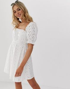 Buy ASOS DESIGN milkmaid broderie mini dress at ASOS. Get the latest trends with ASOS now. Prom Dress Shopping, Online Dress Shopping, Design Bleu, Midi Skirt With Pockets, Haut Bikini, Edgy Outfits, Cute Outfits, Girl Outfits, Latest Dress