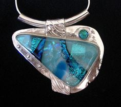 Stunning PMC Silver and Dichroic Glass Pendant by JenLindley. $210.00, via Etsy.