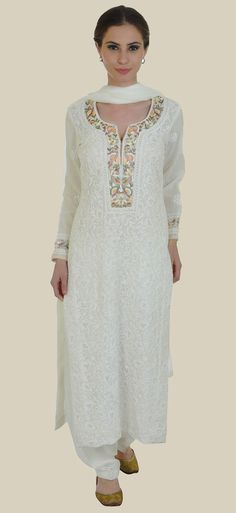 Ivory Chikankari And Parsi Gara Handcrafted Pure Georgette Suit