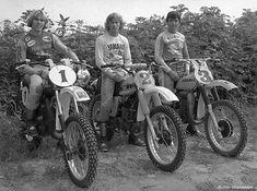 Kent Howerton, 250cc; Bob Hannah 125cc; Tony Distefano 500cc; 1976 AMA Champions.