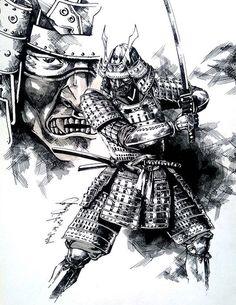 krieger tattoo vorlage, schwarz weiße zeichnung, samurai
