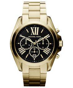 Michael Kors Watch, Women's Chronograph Bradshaw Gold-Tone Stainless Steel Bracelet 43mm MK5739 - First @ Macy's!