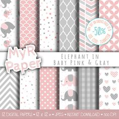 "Elephant digital paper: ""Baby Pink & Gray"" elephants papers pack of backgrounds and #patterns - perfect for Baby Shower  50% OFF ON ORDERS OVER 12 $ (OR NEARLY 12 €) USE COD... #design #graphic #digitalpaper #scrapbooking #background"