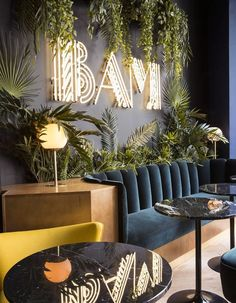 michael malapert designs the bam karaoke box in paris with a hint of art d .:separator:michael malapert designs the bam karaoke box in paris with a hint of art d . Coffee Shop Design, Cafe Design, Design Shop, Design Art, Modern Design, Design Boards, Design Table, Signage Design, Art Designs