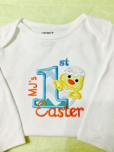 Excited to share the latest addition to my shop: Personalized Boy's Easter Bunny T-Shirt or Bodysuit Easter Dress, Easter Bunny, Bodysuit, Etsy Shop, Trending Outfits, Sweatshirts, Boys, Handmade Gifts, T Shirt