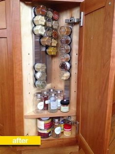 Spice Storage Before & After: A Tiny Corner Cabinet Gets Neatly Organized — magnetic knife strips from IKEA and (genius) hexagonal jars from Gneiss Spice with magnetic lids