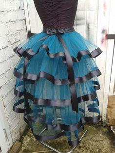 Teal green bustle skirt belt Gothic Victorian Burlesque Steampunk tutu w ribbon   eBay