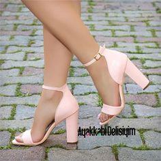 Modi Pudra Kalın Topuklu Ayakkabı #pink #prom #shoes