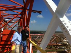 NASA EDGE Host, Chris Giersch, getting ready to interview Atmospheric Scientist, Chip Trepte. The photo was taken on top of the Gantry (240 ft) located at NASA Langley Research Center.