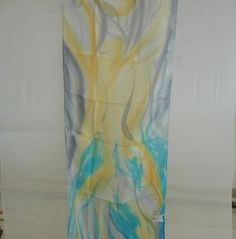 Spring In Desert Silk Scarf : Size : 150cm on 45cm Hand Painted Silk Scarf. Made in Israel Free Shipping.