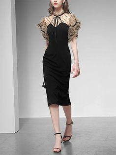 Black Butterfly Sleeve Polka Dots Pencil Dress – Jolly Vintage Off Black, Pencil Dress, Polka Dots, Cold Shoulder Dress, Butterfly, Sleeves, Vintage, Dresses, Women