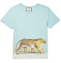 GUCCI Slim-Fit Distressed Printed Cotton-Jersey T-Shirt. #gucci #cloth #t-shirts