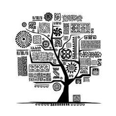 dessin tribal: Arbre ethnique avec l'ornement à la main pour votre design