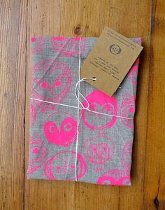 MOCHO Owl Printed FLAX Teatowel Neon Pink by SeptemberDesign, $30.00