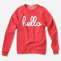 Hello Apparel Ladies 'Hello' Pullover Jumper in Red. Available in size S, M, L & XL. Please see size guide picture for guidance. Also available for kids! Al