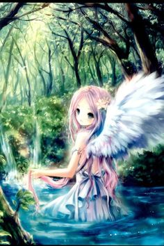 Angel Girl - anime - Forrest, woods, lake, pond, art, paint, drawing, beautiful, sweet, kawaii