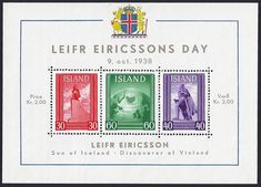 "Iceland Scott B2 (09 Oct 1938) Souvenir Sheet Leifr Eiricsson Day: Monument to  Liefr Ericsson; Iceland's position on globe; Ericsson statue, Reykjavik, Iceland.   Leif Erikson or Leif Ericson was a Norse explorer regarded as the first European to land in North America (Vinland) nearly 500 years before Christopher Columbus.   However, Columbus had the advantage of ""mass media"" as Johannes Gutenberg was the first European to use movable type printing, in around 1439."