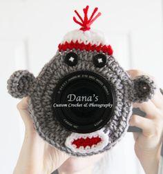 Sock Monkey Camera Lens Buddy by DanasCustomCrochet on Etsy, $10.00