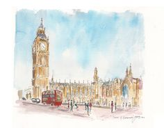 Houses of parliament london  original watercolour by fionamiller, $145.00
