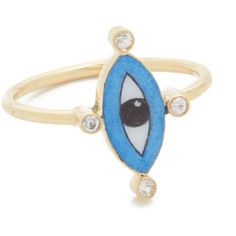 Holly Dyment Little Blue Enamel Eye Ring ($990) ❤ liked on Polyvore featuring jewelry, rings, multi colored rings, 18 karat gold jewelry, 18k jewelry, 18k ring and multi colored jewelry