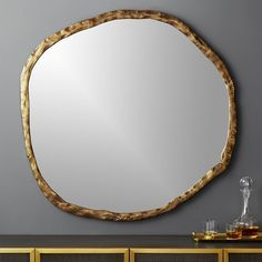 On sale. Shop Abel Round Mirror Rough-hewn aluminum frames oversized round mirror in organic style. Adds natural elegance to the living room or entry. Mounting hardware is included. Oversized Round Mirror, Large Round Mirror, Round Wall Mirror, Mirror Set, Black Mirror, Round Mirrors, Wall Mirrors, Mirror Ideas, Round Decorative Mirror