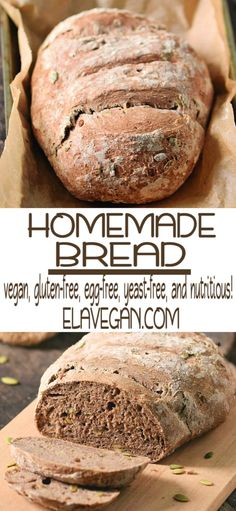 This is my favorite homemade gluten-free vegan bread recipe which is egg-free, yeast-free, and nutritious! It's actually healthy since it contains psyllium husk powder. It's crispy on the outside and soft on the inside! Yeast Free Breads, Gluten Free Biscuits, Gluten Free Soup, Gluten Free Banana Bread, Gluten Free Pizza, Gluten Free Muffins, Gluten Free Baking, Keto Bread, Gluton Free Bread
