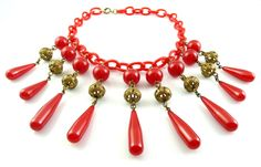 GLAMOROUS Vintage 1930s Ornate Brass & Cherry Red BAKELITE & Celluloid NECKLACE