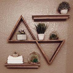 Double Triangle Shelf Pallet Wood Shelf Geometric Shelf  Something interesting