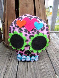 skull plush   Plush Sugar Skull - Pink Leopard Hearts on Wanelo