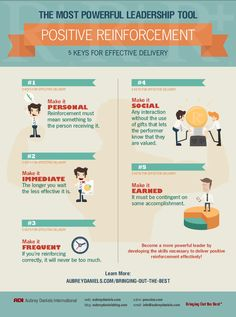Five Keys to Positive Reinforcement - Illustrative Infographic on how leaders can effectively deliver positive reinforcement to their staff.  These tips will be useful to virtually anyone as the vast majority of us work as part of an organization, be it an ABA service provider, school district, Fortune 500 company, etc…