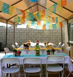 TEACH THEM HOW TO MAKE THESE PAPER THINGS, PLUS SUGAR SKULLS-GET HELP FROM LATINA MAMA, MAKE HORCHATA, TAMALES, CALABAC´ITAS Y MEXICAN MUSIC, KIDS LEARN TO ASK FOR FOOD IN SPANISH AT EACH STATION!, Y SALSA FRESCA! kids fiesta decorations