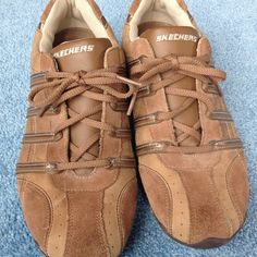 Tan - brown lace up Skechers tennis shoe Very gently worn. Leather/synthetic uppers. Skechers Shoes Sneakers