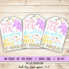 Unicorn Favor Tag Unicorn Birthday Favor Tag Unicorn by qtpaperie