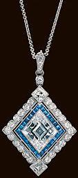 Platinum Art Deco pendant one parallelogram diamond 6.08 carats 28 diamonds 1.35 carats and 28 sapphires .75 carats