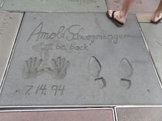 Top 20 things to do in Los Angeles: The hand and footprints of Arnold Schwarzenegger at the Grauman's Chinese Theatre