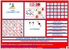 Materiales para trabajar conciencia fonológica, articulación, apoyo para el aprendizaje de la lectura. Contiene: 1.- BARAJA FONÉ...