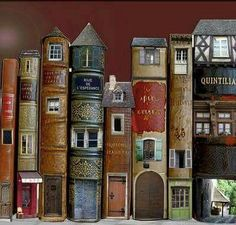 Book Art Is Awesome: Around The Home Fairy books (doll house doors and windows in vintage books) library Old Books, Vintage Books, Vintage Library, Altered Books, Altered Tins, Book Spine, Book Sculpture, Paper Sculptures, Fairy Houses