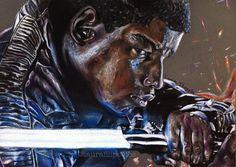 Colored pencil drawing of Finn (John Boyega) from Star Wars by Laura Filipovics 🌠